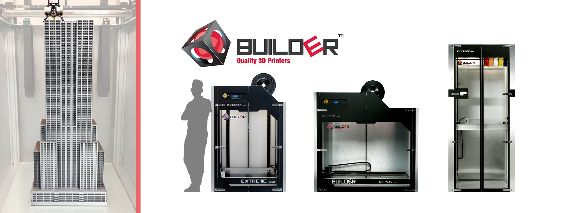 Meet the Builder Extreme range. The Builder Extreme is an affordable large scale FFF 3D printer which is available in three different sizes. Despite its big print volume, there is no loss in print quality.