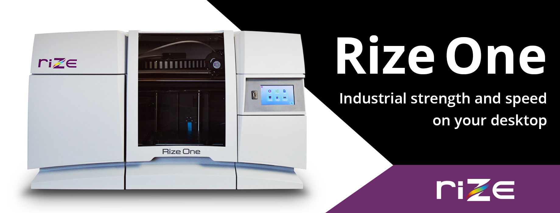 Rize One combines strength, speed, safety and security for affordable and sustainable production. Augmented Polymer Deposition (APD) combines extrusion and material jetting to produce incredibly strong parts with almost no post-processing.